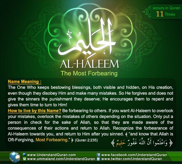 Name 27 Al Haleem And the Answer is . . . AL HALEEM!
