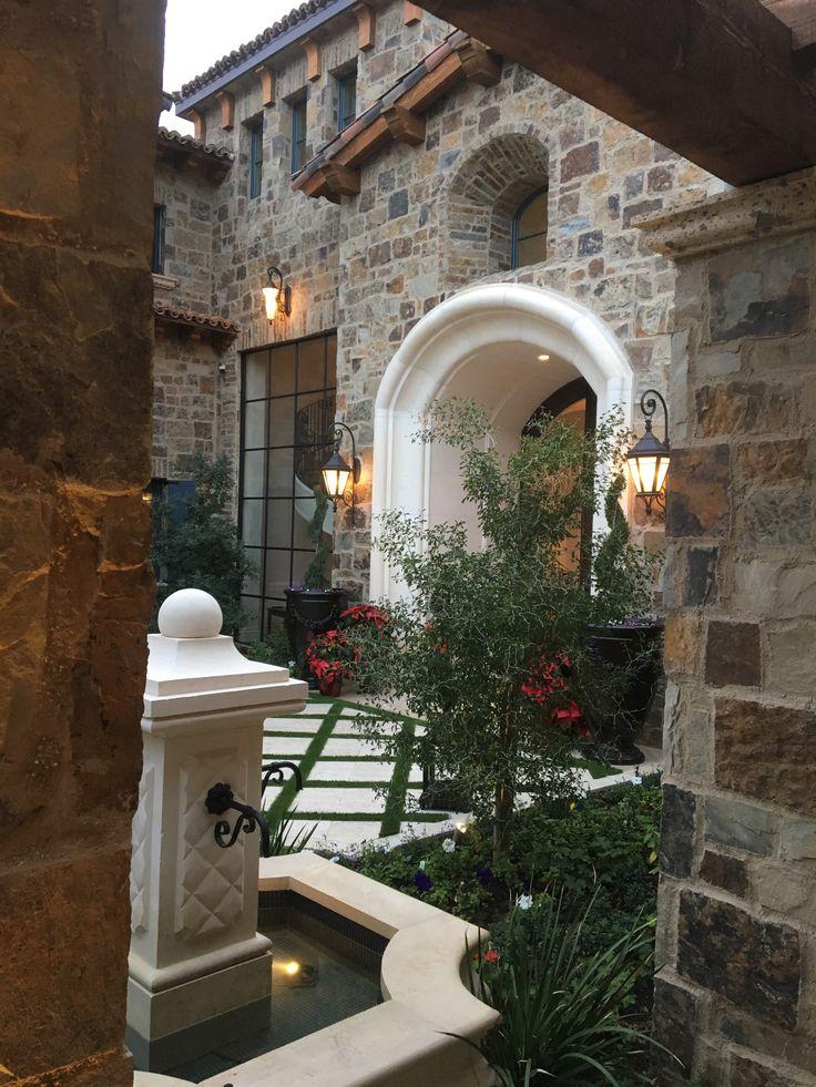 French Villa Luxury Home courtyard