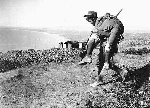 Soldiers helping soldiers at Gallipoli.