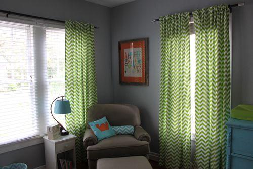 Teal Blue Lime Green Bright Orange Modern Boy Nursery Chevron Patterned Curtains Future Kids