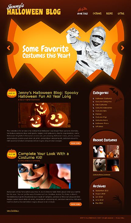 WordPress #template // Regular price: $65 // Unique price: $4000 // Sources available: .PSD, .PHP, This theme is widgetized #Personal #WordPress #Themes #Halloween #Blog