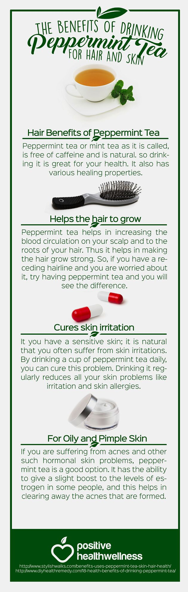 The Benefits Of Drinking Peppermint Tea For Hair And Skin – Positive Health Wellness Infographic