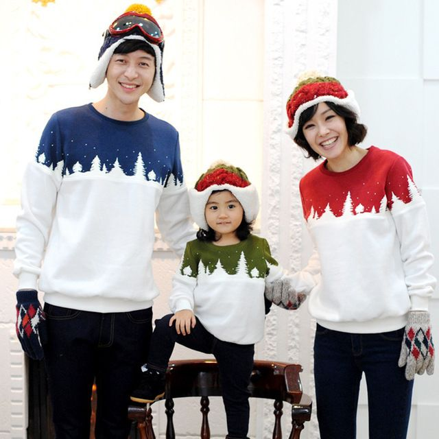 Chistmas Costume Autumn/Winter/Spring family pack cotton baby boy clothes Girls clothes long-sleeve T-shirt for mother,father