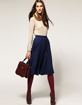 SKIRT ASOS Midi Skirt with Pleats in blue, black, red or gray