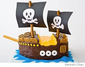 Pirate Ship Birthday Cake Design    How to make a pirate ship birthday cake with boxed cake mix. Easy, step-by-step recipe, diagrams and pictures.  31 Incredible Birthday Cake Designs, Step-by-step recipes, designs and color pics of the easiest (and cutest) birthday cakes for boys and girls.