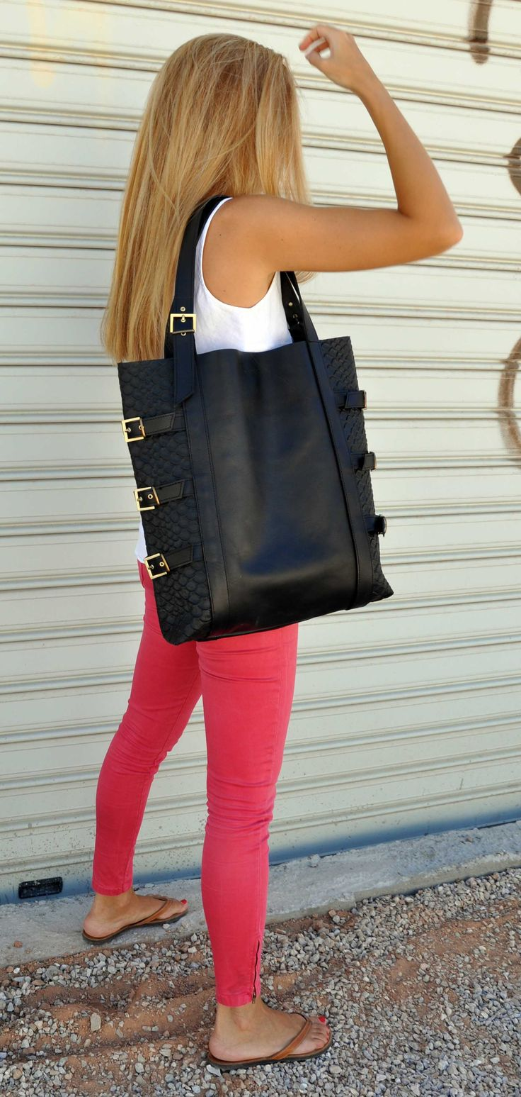 black oversized tote bag with leather straps