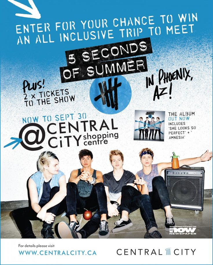Hey everyone! Visit customer service at Central City and enter for your chance to win an all inclusive trip to meet 5SOS!! For more info check out www.centralcity.ca