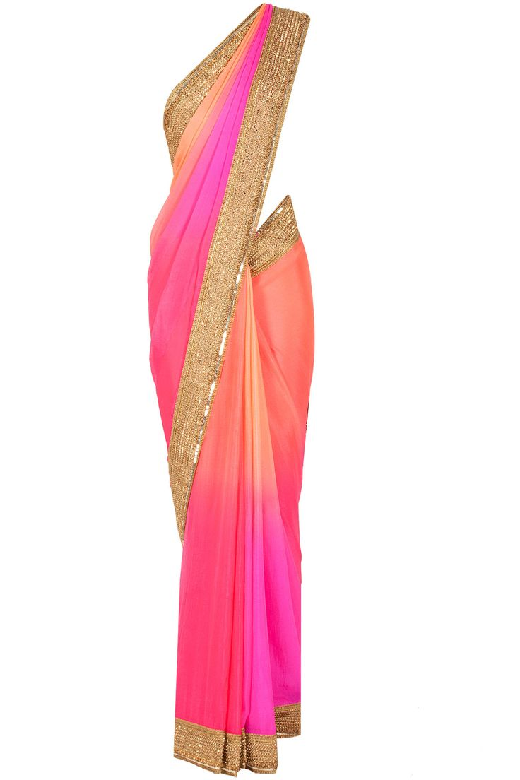 Pink and orange ombre sari available only at Pernia's Pop-Up Shop.
