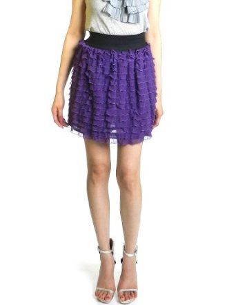 Topia Women's Chiffon Ruffle Tiered Banded Skirt (S, Purple) Topia. $7.99