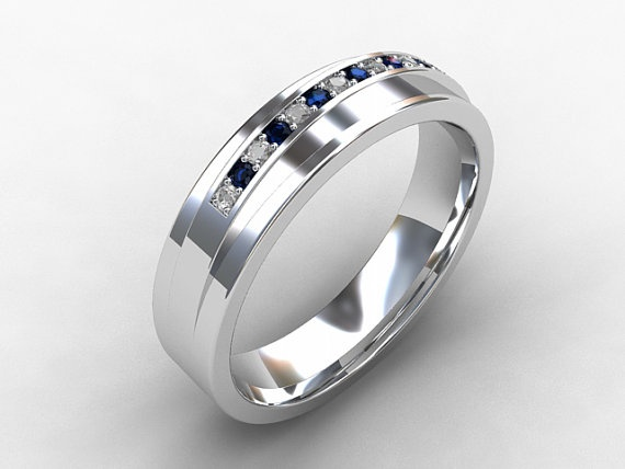 Wide Wedding Band With Diamonds And Blue Sapphires Man