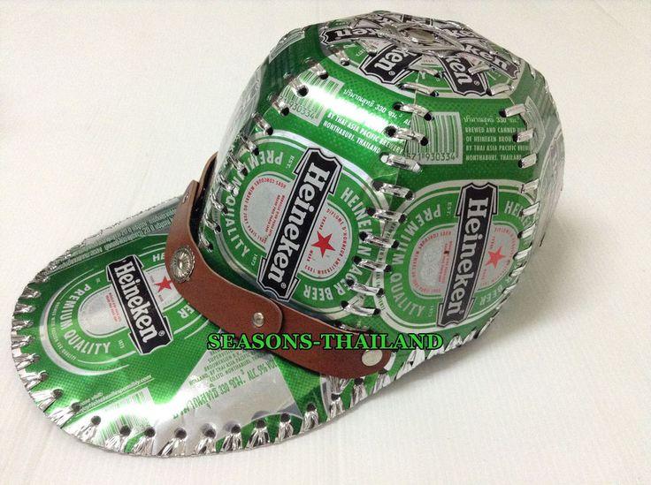 #1 NEW HEINEKEN BEER CAN CAP,GREEN HAT,RECYCLE,GIFT,HANDMADE,TIN,BOX,COLLECTIBLE