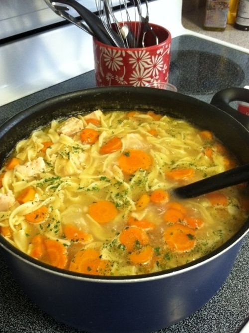 Homestyle Chicken Noodle Soup (in less than 30 minutes!) I made this using a left over roasted chicken from safeway (after I ate all the skin, of course) and it was so yummy!