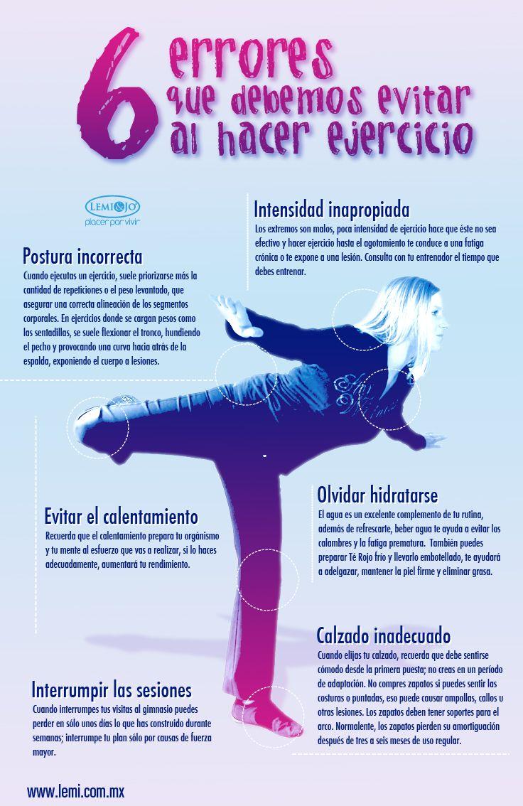 Si vas a practicar ejercicio, toma nota  de estos 6 errores que debes evitar al hacer #ejercicio. #salud y #bienestar.