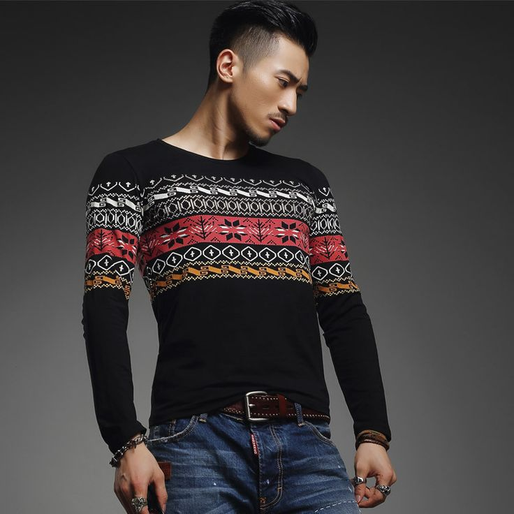 Новое бронзер свободного покроя с длинным рукавом oneck футболки мужчин марка 2015 slim-подходят хлопок печатных мужские футболки мужской одежды