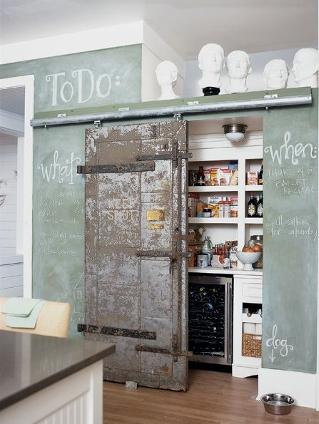 love chalkboard paint and old barn door; pantry idea for kitchen
