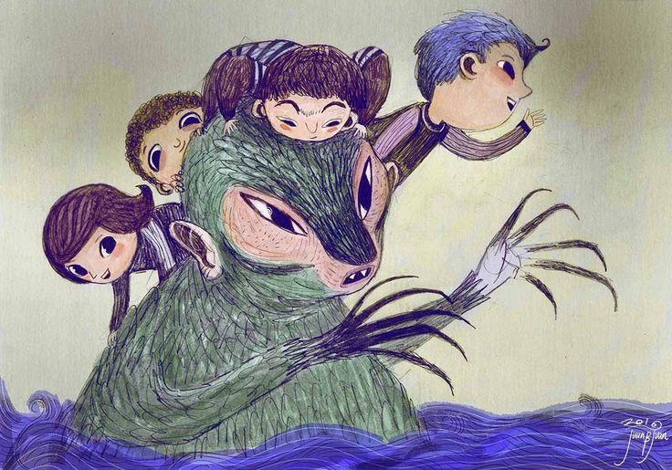 monster island. children and monster travelling across the oceans