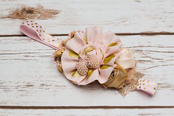 Gold princess headband blush pink and gold headband first