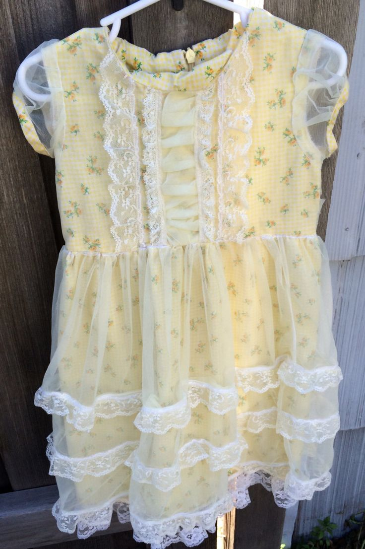 1970s Yellow Party Dress Toddlers 2/3 by lishyloo on Etsy
