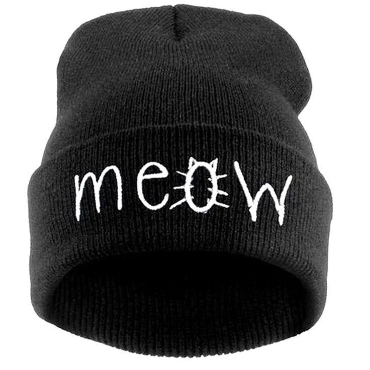 Fashion MEOW Cap Men Casual Hip-Hop Hats Knitted Wool Skullies Beanie Hat Warm Winter Hat For Women on Luulla