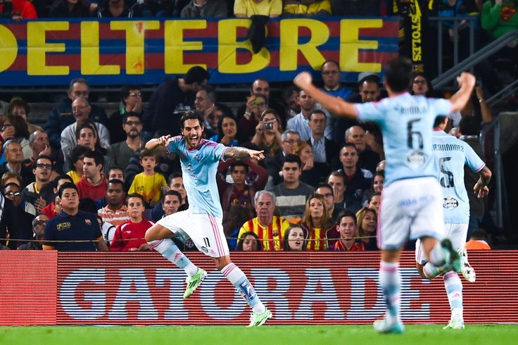 Larrivey of Celta de Vigo celebrates after scoring the opening goal during the La Liga match between FC Barcelona and Celta de Vigo at Camp Nou on November 1, 2014 in Barcelona, Catalonia.