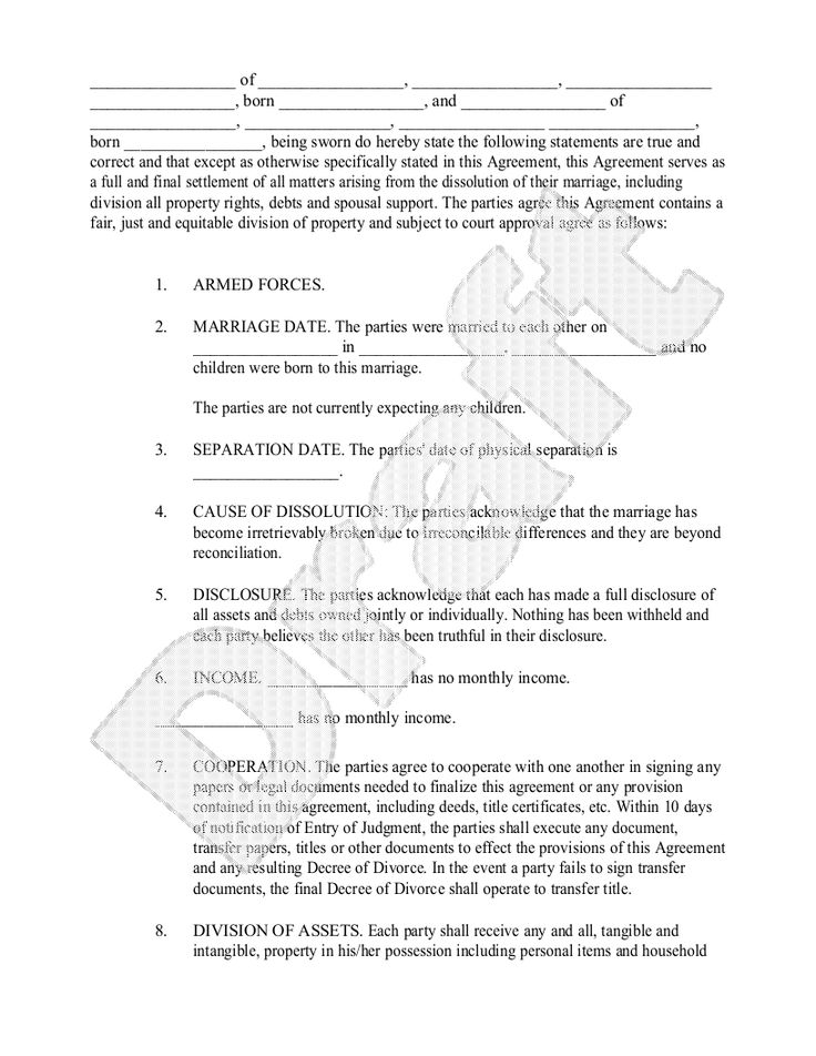 Nice Sample Divorce Settlement Agreement Form Template