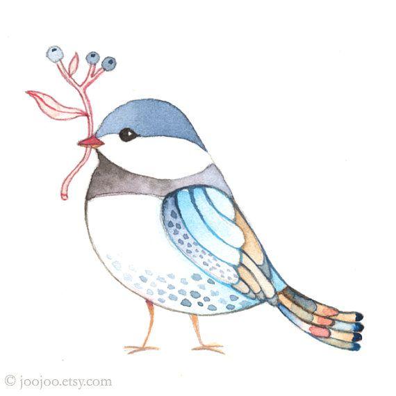 Peinture aquarelle miniature peinture originale art Bird par joojoo