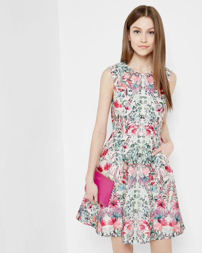 Layered Bouquet skater dress - Cream | Dresses | Ted Baker  Wasn't sure I was ready for all this floral, but the fit is perfect, there's a pocket, I can dress it up and down, and so distinctive!