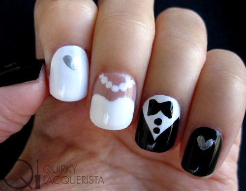 Super cute wedding nails! Lovely idea for wedding nails, something different!