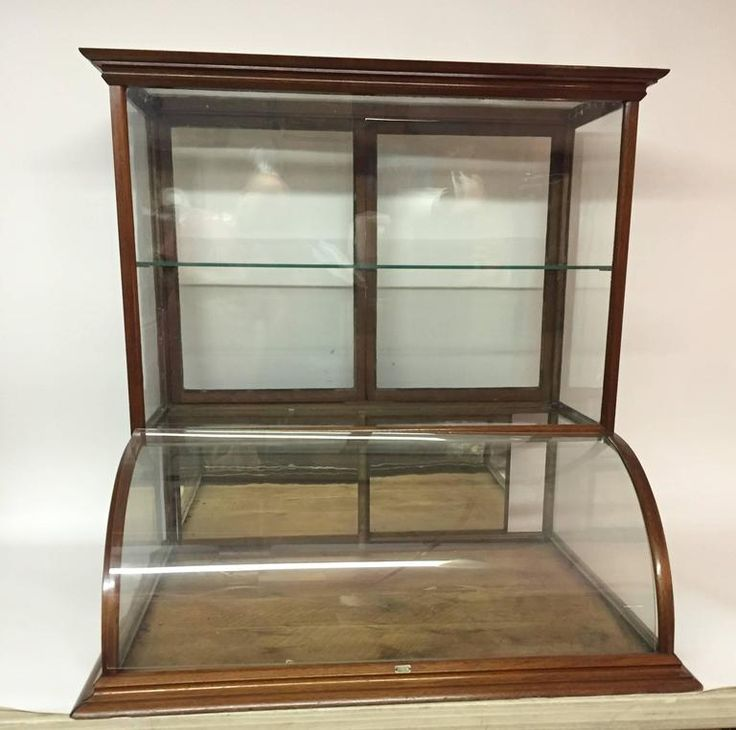 York Walnut And Glass Counter Top Display Cabinet For Sale At 1stdibs