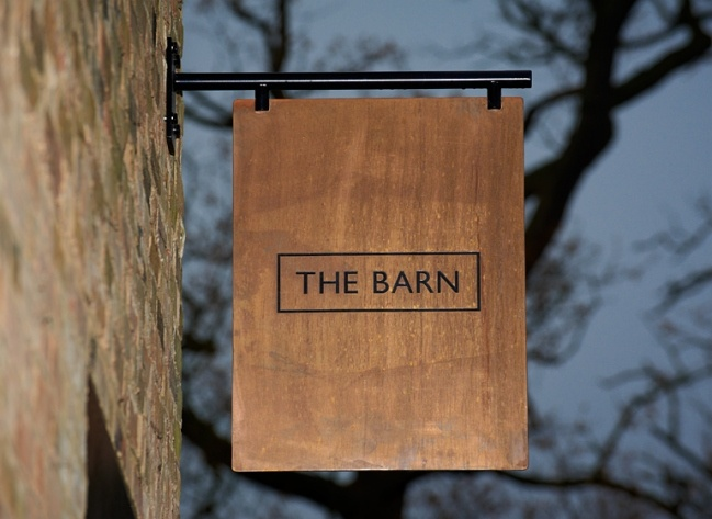 This corporate identity for The Barn, which is a restaurant in the luxury Coworth Park hotel, particularly struck my fancy.