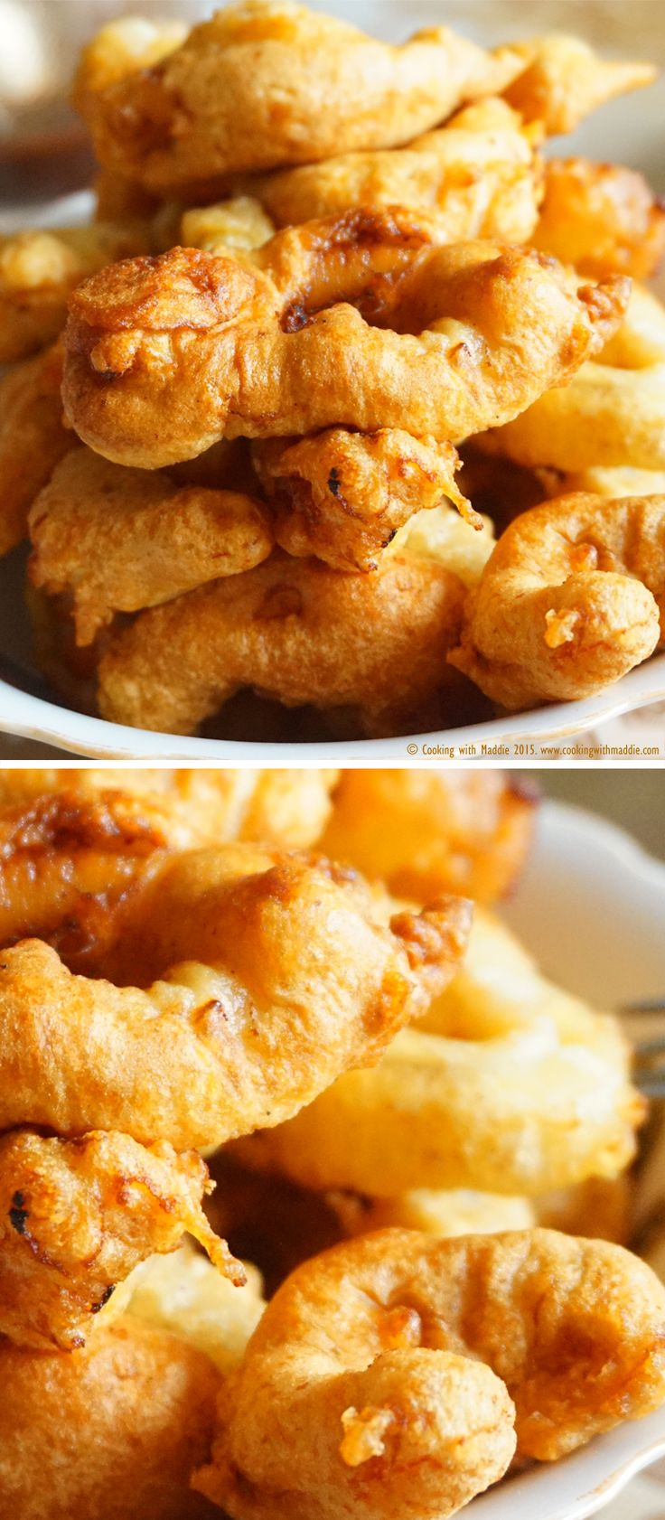 This recipe brings together a perfectly matching couple: the light and crispy batter goes wonderful with the bouncy texture of the shrimp and calamari. You'll love them! @cookingwmaddie
