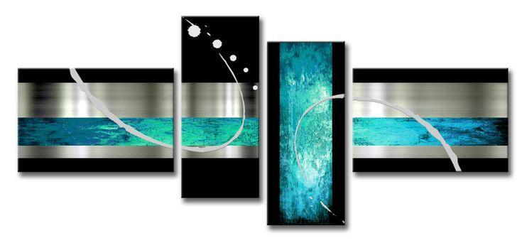 Ma 024 cuadro abstracto azul turquesa cuadros modernos - Cuadro decorativos modernos ...