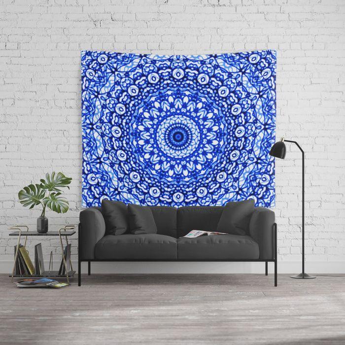 SOLD Wall Tapestry Blue Mandala Mehndi Style G403 https://society6.com/product/blue-mandala-mehndi-style-g403_tapestry#s6-6168066p42a55v412 #society6 #Wall #Tapestry #Blue #Mandala #Mehndi #mandalas #geometry #geometric #home #homedecor