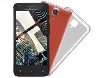 "Smartphone Multilaser MS45 Colors 8GB Dual Chip 3G - Câm. 5MP Tela 4.5"" Proc. Quad Core Android 4.4"