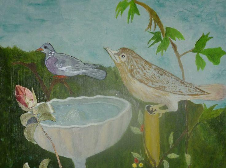 Handpainted Birds on Fountain