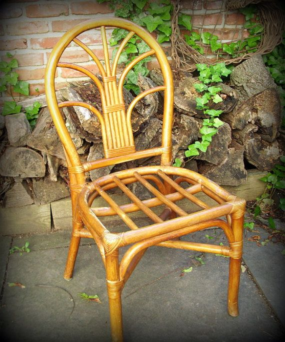 Antique Bamboo Chair | Vintage Bamboo Rattan Side Chair by  MerrilyVerilyVintage on Etsy - 256 Best Antique Chinese Bamboo Furniture Images On Pinterest