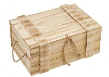 Holzkiste mit Deckel, 42 cm - Rustikale Kiste aus Holz für Ihre Dekoideen. Diese Kiste lässt sich mit einem Seil verschließen. Damit sind Ihre persönlichen Sachen perfekt verstaut.Material: Holz