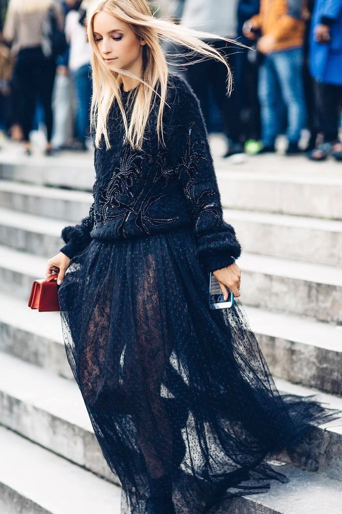 ways to wear lace  Embroidered Sweater + Sheer Lace Maxi Skirt + Chunky  Boots 2ba3efab1