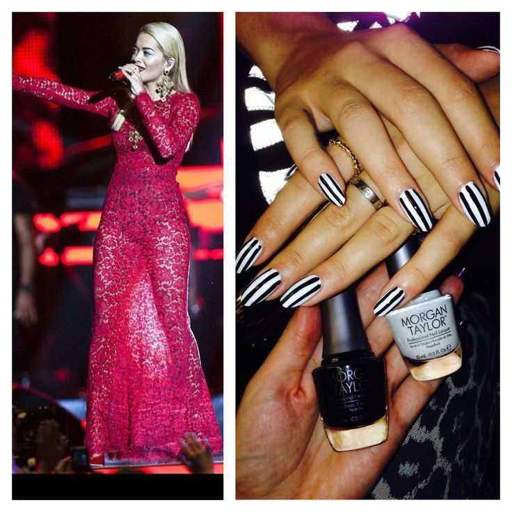 Rita Ora Wearing Morgan Taylor's Little Black Dress & All White Now available at Louella Belle #RitaOra #Celebrity #Nails #Manicure #NailArt #Stripes #Monochrome #Black #White #LouellaBelle