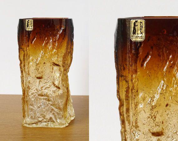 Kumela Finland Vintage Textured Glass Vase Kaj by NordicForm