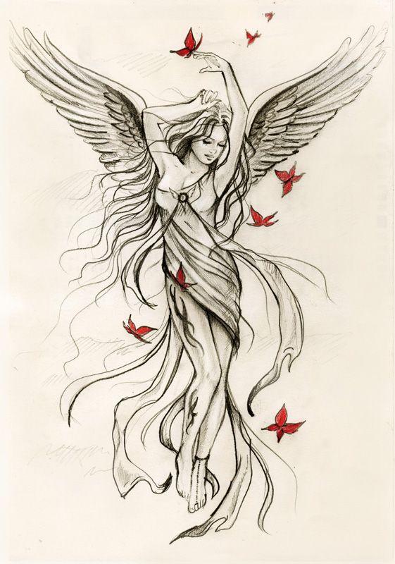 angel tattoo (instead of butterflies, have cardinals)
