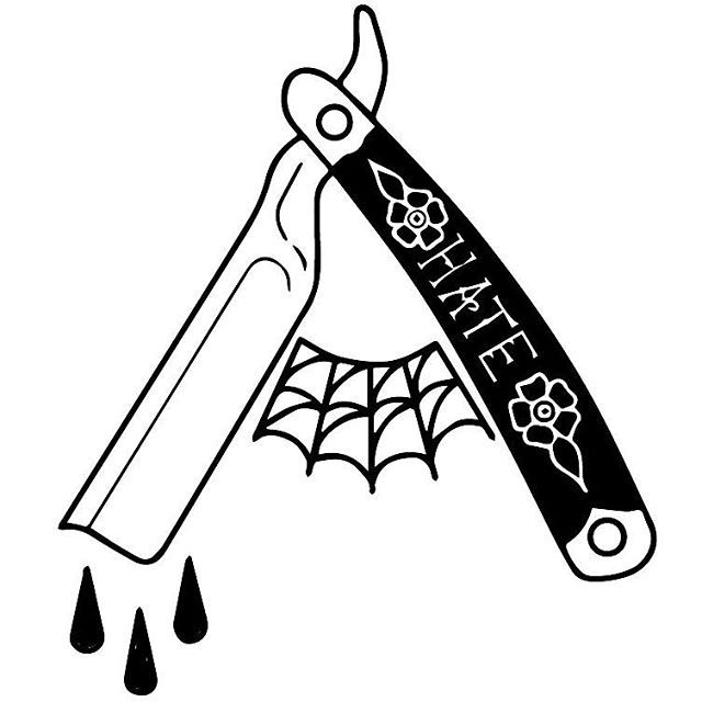 The 25 best traditional black tattoo ideas on pinterest for Straight edge razor tattoo