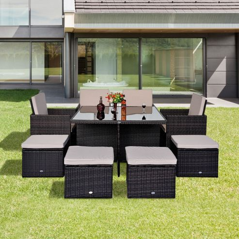 buy outsunny 9pc rattan garden furniture outdoor home cube set brown from our rattan garden furniture - Rattan Garden Furniture Tesco