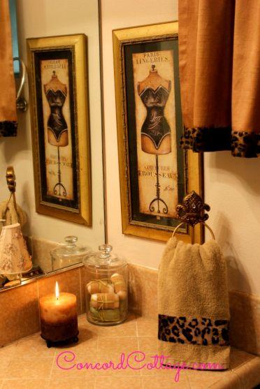 13 best leopard golden bathroom images on pinterest for Cheetah bathroom ideas