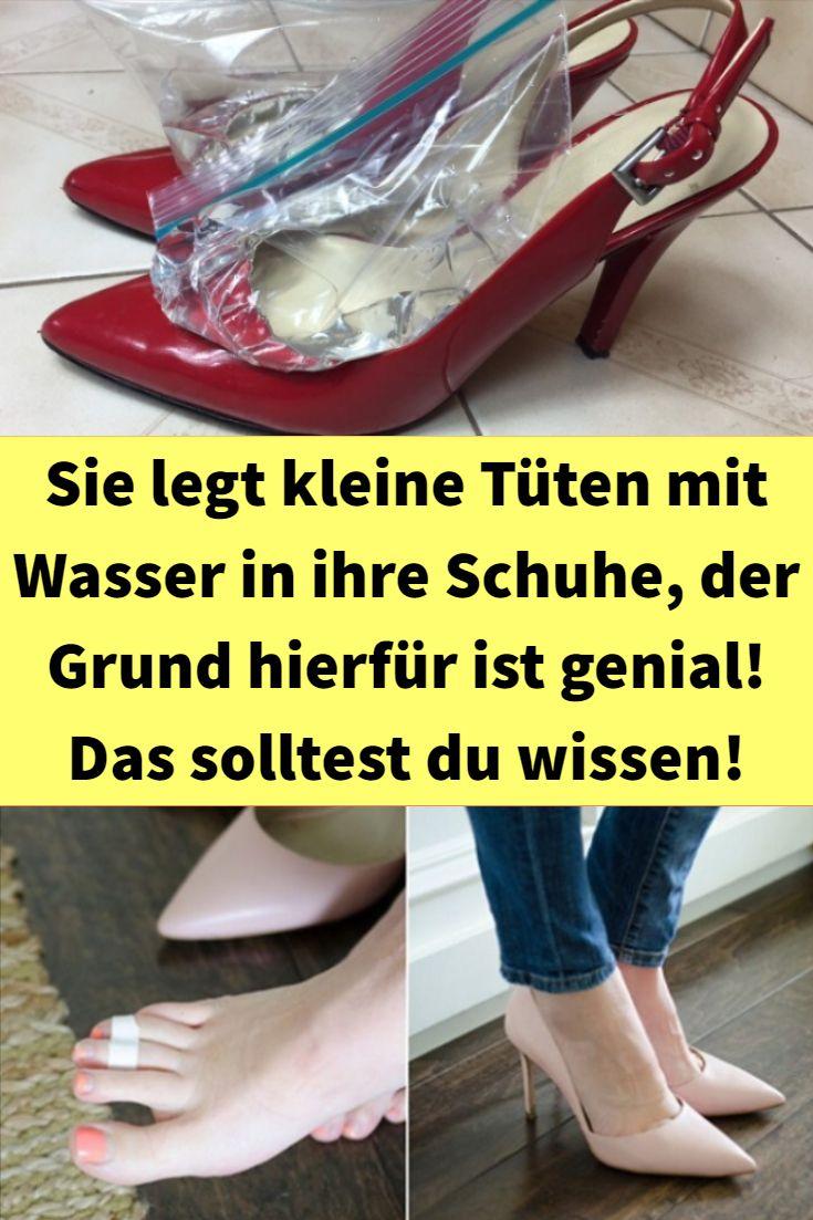 Sie legt kleine Tüten mit Wasser in ihre Schuhe, der Grund hierfür ist genial! Das solltest du wisse