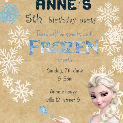 Birthday Party invite Frozen Elsa printable on parchment
