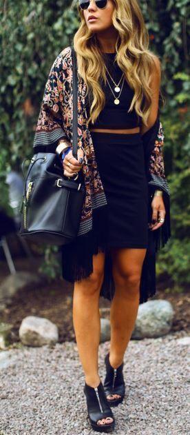 Florals + black. jacket  + dress | accessorize