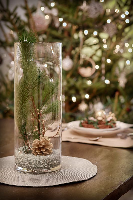 Wintery holiday centerpiece vase centerpieces crackle