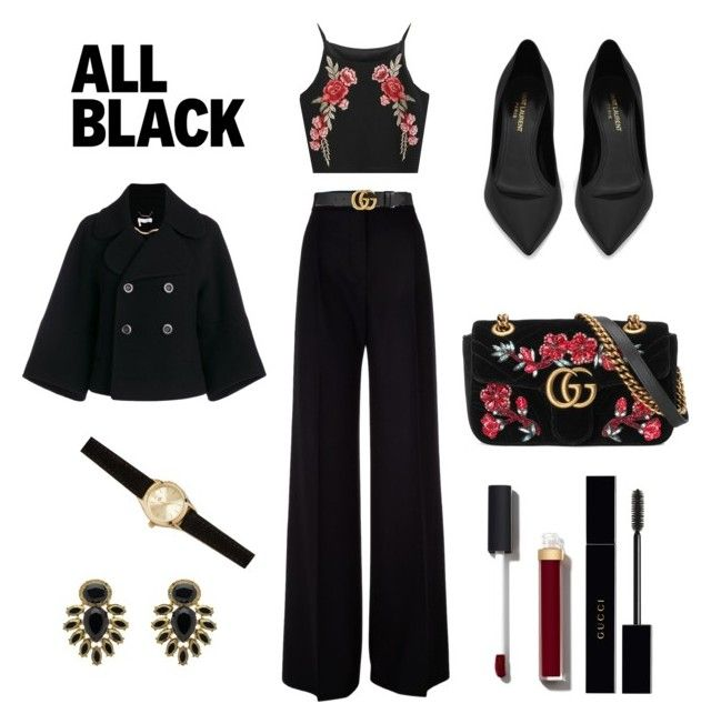 """All black"" by csmarcsi on Polyvore featuring MaxMara, Gucci, Monet, Chloé, Francesca's, Chanel and Yves Saint Laurent"