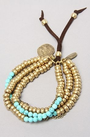 The Multi Bead Adjustable 3-Strand Bracelet in Turquoise by Calinana Jewelry | Karmaloop.com - Global Concrete Culture - StyleSays